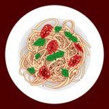 Pasta med spagettien, tomater och basilika, vektorillustration vektor illustrationer