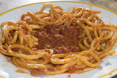 Pasta med tomatpuré Royaltyfri Fotografi