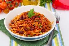 Pasta med tomatsås Royaltyfria Bilder
