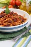 Pasta med tomatsås Arkivfoto