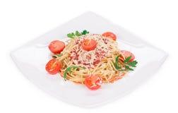 Pasta med tomatsås Royaltyfri Fotografi