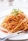Pasta med tomatsås och persilja Royaltyfri Fotografi