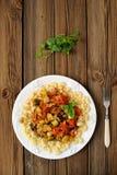 Pasta med tomatsause Fotografering för Bildbyråer