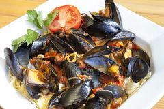Pasta with Mediterranean mussels Stock Photo