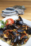 Pasta with Mediterranean mussels Stock Image