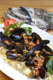 Pasta with Mediterranean mussels Royalty Free Stock Images