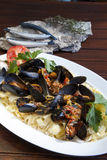 Pasta with Mediterranean mussels Stock Photography