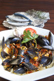 Pasta with Mediterranean mussels Stock Photos