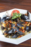 Pasta with Mediterranean mussels Royalty Free Stock Photography