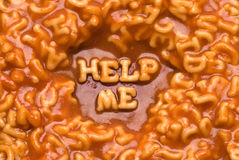 Pasta Message - Help Me Royalty Free Stock Images