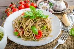 Pasta with Milan pesto Stock Images