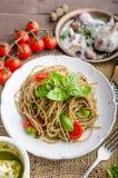 Pasta with Milan pesto Stock Photos