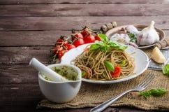 Pasta with Milan pesto Royalty Free Stock Image