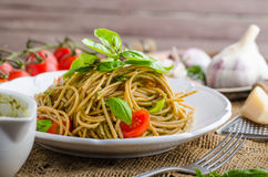 Pasta with Milan pesto Stock Photography
