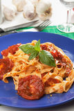 Pasta milanese with basil and tomato Royalty Free Stock Images