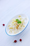 Pasta with milk Royalty Free Stock Images