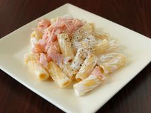 Pasta with milk cream Royalty Free Stock Image