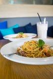 Pasta And Milkshake Stock Images