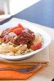 Pasta with mince and tomato Stock Photos