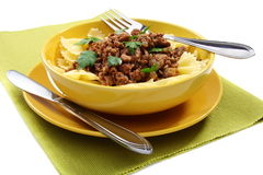Pasta with minced meat. Royalty Free Stock Image