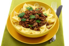 Pasta with minced meat. Stock Photos