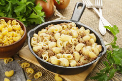 Pasta with minced meat Royalty Free Stock Images
