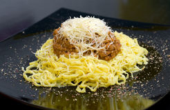 Pasta with minced meat, macro Royalty Free Stock Photography