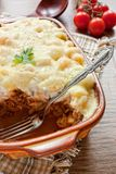 Pasta with minced meat in a tray Stock Photography