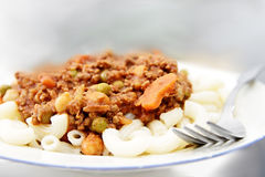Pasta with mincemeat Royalty Free Stock Photography