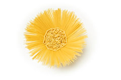 Pasta mix in sun shaped recipient  on white background Royalty Free Stock Photo