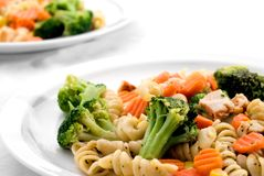 Pasta and mixed vegetables Stock Images