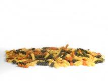 Pasta multicolore su bianco Fotografia Stock Libera da Diritti