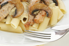 Pasta with mushroom and meat Royalty Free Stock Images