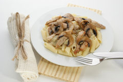 Pasta with mushroom and meat Royalty Free Stock Photo