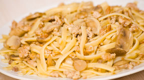 Pasta with mushroom and minced meat Stock Image