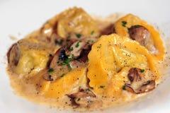 Pasta Mushroom Ravioli Stock Photos