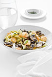 Pasta with Mushroom and Shrimp Stock Images