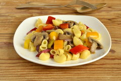 Pasta with mushrooms and bell peppers Royalty Free Stock Photography