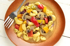 Pasta with mushrooms and bell peppers Royalty Free Stock Photo