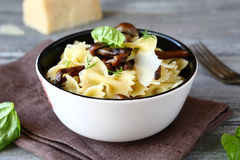 Pasta with mushrooms in a bowl on napkin Royalty Free Stock Photo