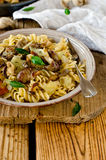 Pasta with mushrooms, cabbage Royalty Free Stock Image