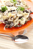 Pasta with Mushrooms and Cheese Stock Photo