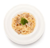 Pasta with mushrooms. Royalty Free Stock Photo