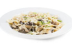 Pasta with mushrooms and Parmesan cheese Stock Photos