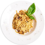 Pasta with mushrooms. Plate of delicious pasta. View from above Royalty Free Stock Photos