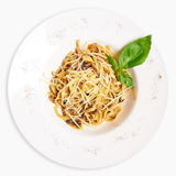 Pasta with mushrooms. Plate of delicious pasta. View from above Stock Photo