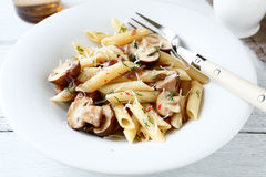 Pasta with mushrooms sauce Royalty Free Stock Photography