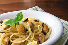 Pasta and mussels Royalty Free Stock Photo