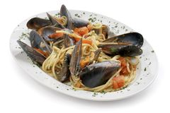 Pasta with mussels Royalty Free Stock Image