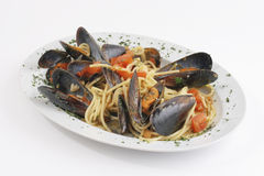 Pasta with mussels Royalty Free Stock Photos